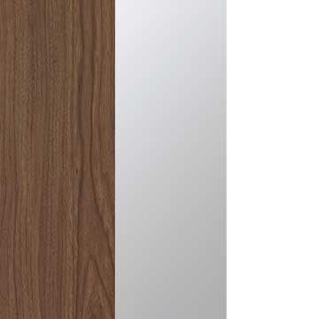 Royal Walnut Carcase with Mirror and Alpine White Front A2W03