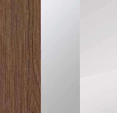 Royal Walnut Carcase with Mirror and Crystal White Glass Front A2W83