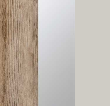 Sanremo Oak Light Carcase with Mirror and Silk Grey Glass Front A4W93