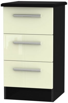 Cream High Gloss Front and Black Base Unit