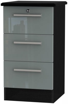 Grey High Gloss Front and Black Base Unit