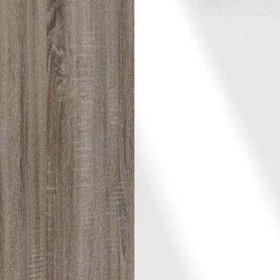 Dark Rustic Carcase and White Glass Front Oak 314