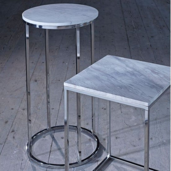 Westminster White Marble and Stainless Steel Square Coffee Table