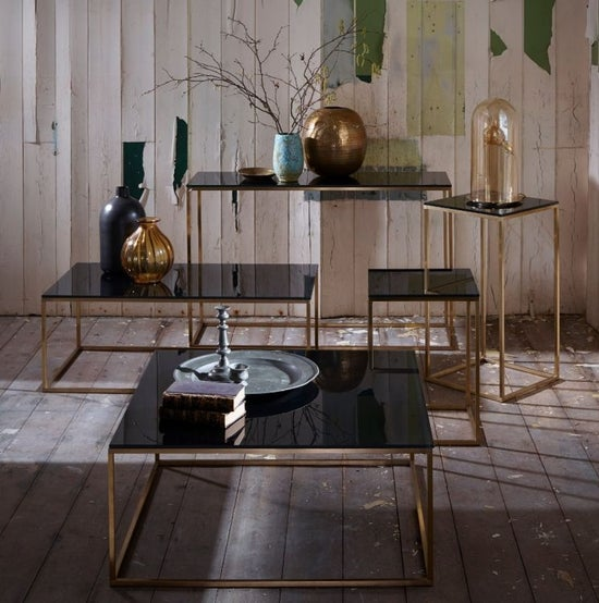 Westminster Black Glass and Brass Square Coffee Table