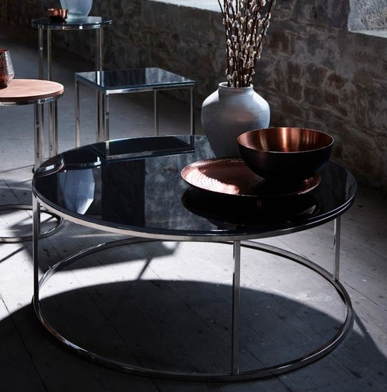 Westminster Black Glass and Stainless Steel Round Coffee Table