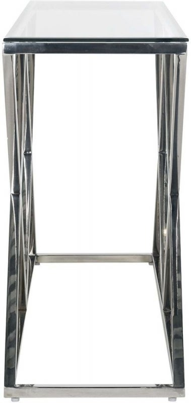 Paramount Glass and Stainless Steel Console Table