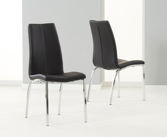 Mark Harris Ava White High Gloss Square Dining Table and 2 Carsen Black Chairs