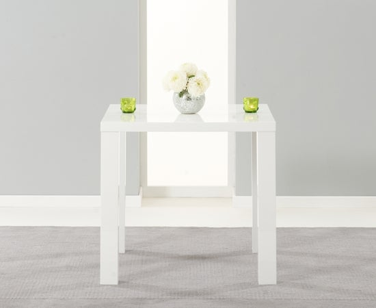 Mark Harris Ava White High Gloss Square Dining Table and 2 Carsen Grey Chairs