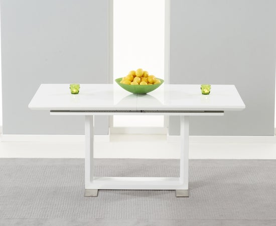 Mark Harris Beckley White High Gloss Extending Dining Table and 6 Malibu Black Chairs