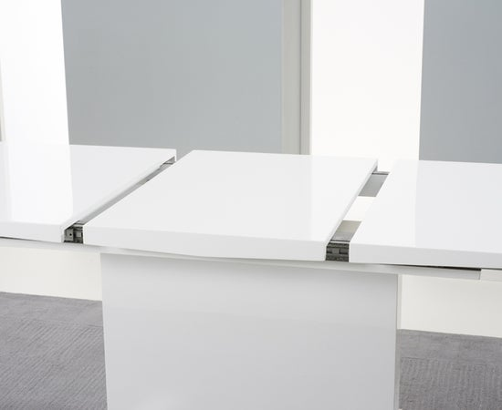 Mark Harris Marila White High Gloss Extending Dining Table and 6 Hereford Z Black Chairs