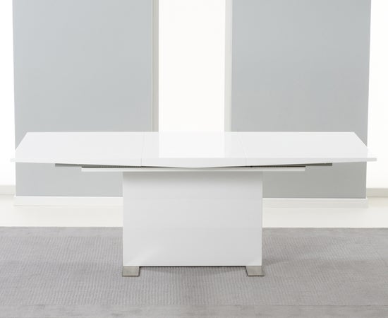 Mark Harris Marila White High Gloss Extending Dining Table and 6 Hereford Z Chairs