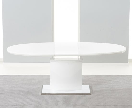 Mark Harris Seville White High Gloss Butterfly Extending Dining Table and 6 Malibu Grey Chairs