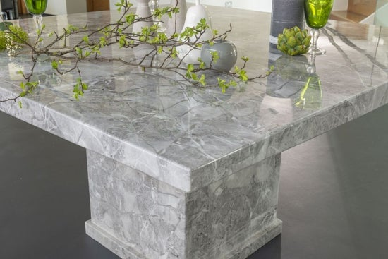 Urban Deco Turin 140cm Grey Marble Dining Table and 6 Grey Knockerback Chairs