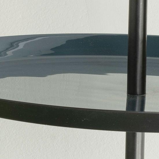 Elena Metal Tripod Round Side Table with Handle -Grey Enamel