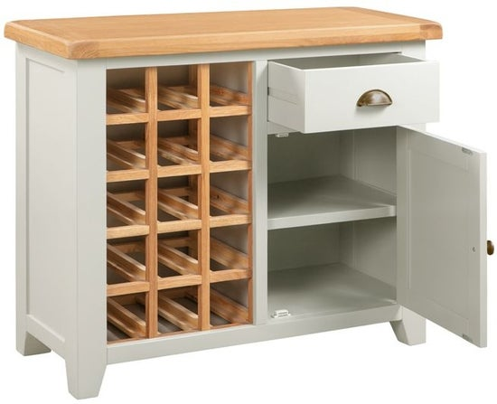 Lundy Oak and Grey Painted Small Wine Cabinet