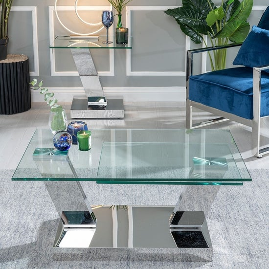 Urban Deco Fusion Glass and Chrome Rotating Coffee Table