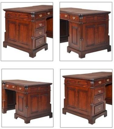 Palais French Mahogany and Burgandy Leather 160cm Partners Desk