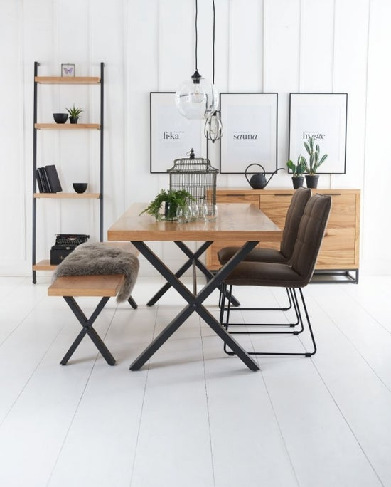 Inkster Industrial Oak and Metal 130cm Dining Table