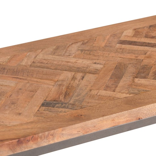 Hill Interiors Hoxton Parquet Top Console Table - Acacia Wood and Metal