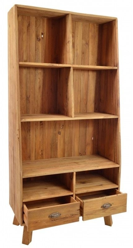 Ancient Mariner Fair Isle Reclaimed Pine 2 Drawer Tall Cube Bookcase