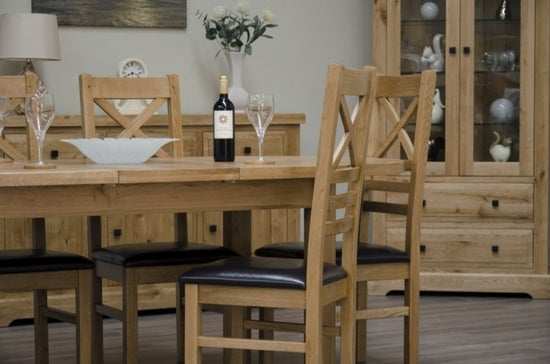 Homestyle GB Deluxe Oak Large Extending Dining Set and 6 Cross Back Chairs