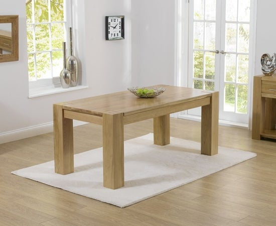 Mark Harris Tampa Oak Large Dining Table and 4 Kalim Black Chairs
