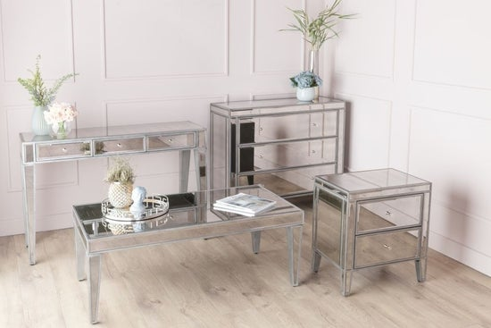 Alhambra French Aged Mirrored 3 Drawer Dressing / Console Table