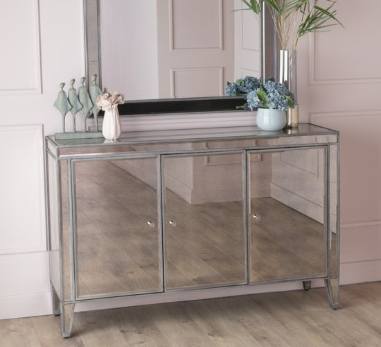 Alhambra French Aged Mirrored Large 3 Door Sideboard