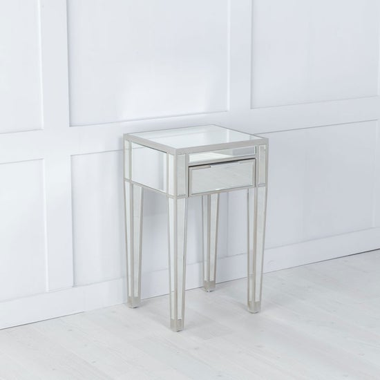 Elysee Mirrored 1 Drawer Bedside Table with Champagne Trim
