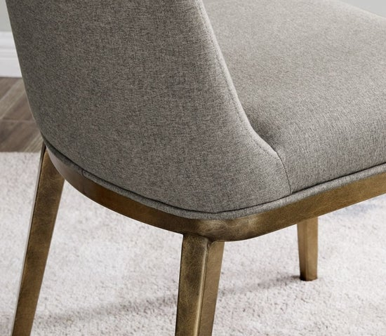 Clearance - Penrith Brass and Beige Linen Fabric Dining Chair (Pair) - New - E-37