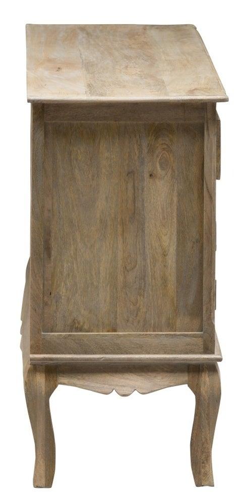 Urban Deco Fleur French Style Rustic Mango Wood Grey 3 Door Sideboard