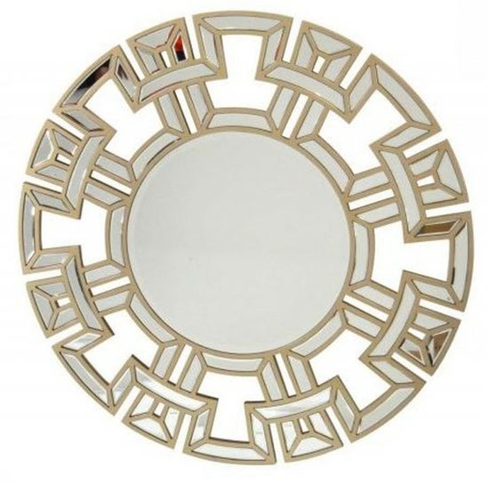 Clearance - Champagne Round Wall Mirror - 90cm x 90cm - New - FS1165