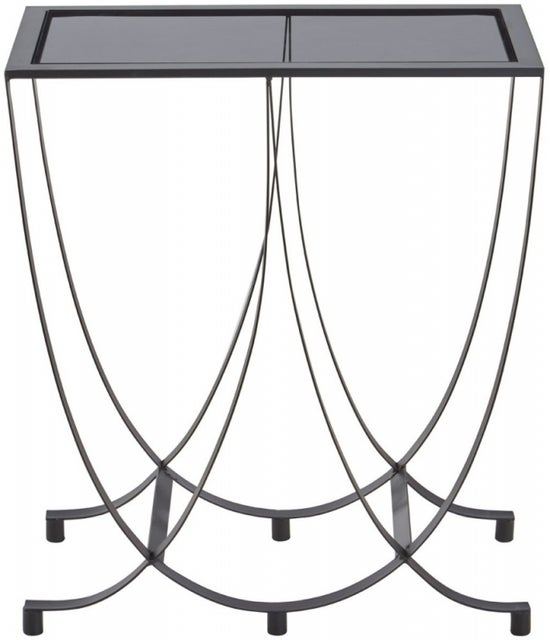 Brisbane Side Table with Grey Glass Top