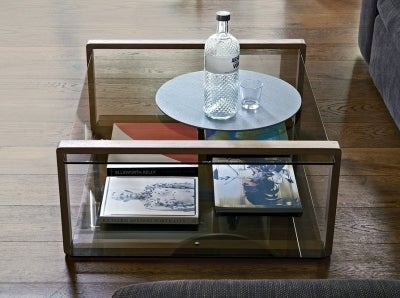 Clearance - Ponte Oak with Glass Top Large Coffee Table - New - FSS9177