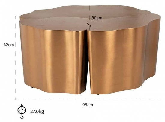 Tree Brushed Gold Coffee Table (Set of 3)