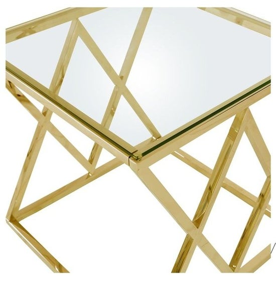 Fowey Glass and Gold End Table