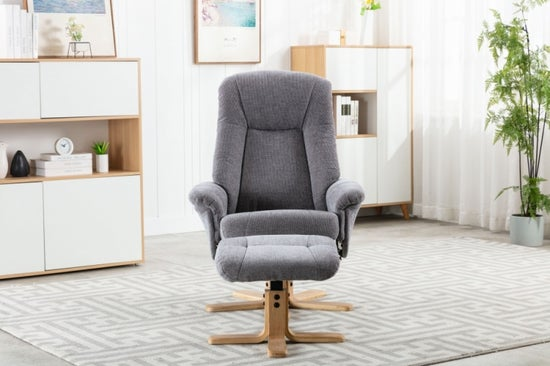 GFA Hawaii Swivel Recliner Chair with Footstool - Lille Charcoal Fabric