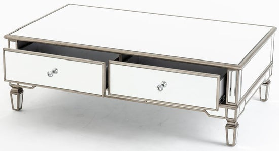 Antoinette Mirrored Coffee Table with Champagne Trim