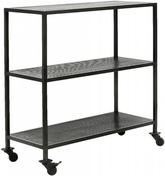 NORDAL Karna Black Trolley Console Table