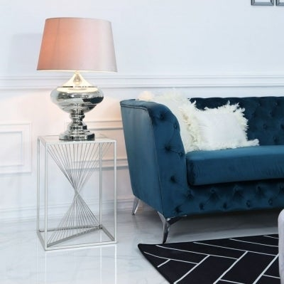 Clearance - Cheadle Silver Metal and Glass End Table - New - E-842