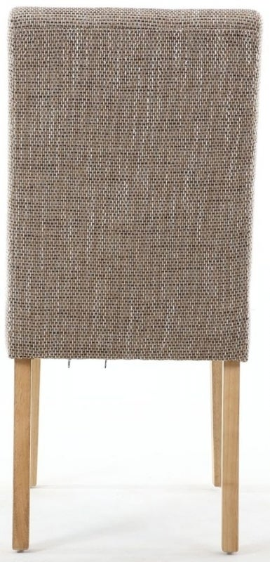 Clearance - Shankar Moseley Tweed Oatmeal Stitched Back Fabric Accent Dining Chair with Natural Legs (Pair) - New - E-814