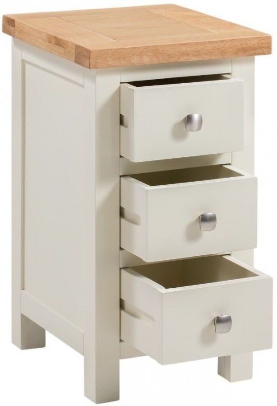 Clearance - Dorset Ivory Painted Compact Bedside Cabinet - New - E-843