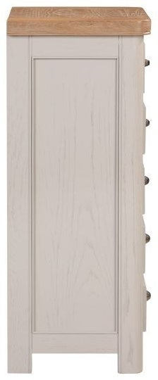 Clarion Oak and Grey Painted 5 Drawer Tall Chest