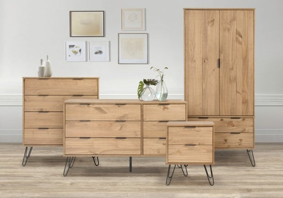 Augusta Pine 4 Drawer Chest with Hairpin Legs