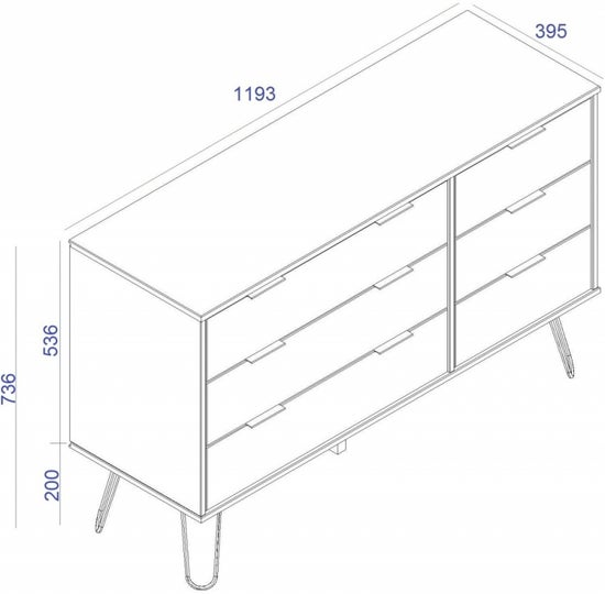 Augusta White 3+3 Drawer Wide Chest with Hairpin Legs