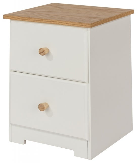 Colorado Petite Bedside Cabinet - White Painted and Oak Effect
