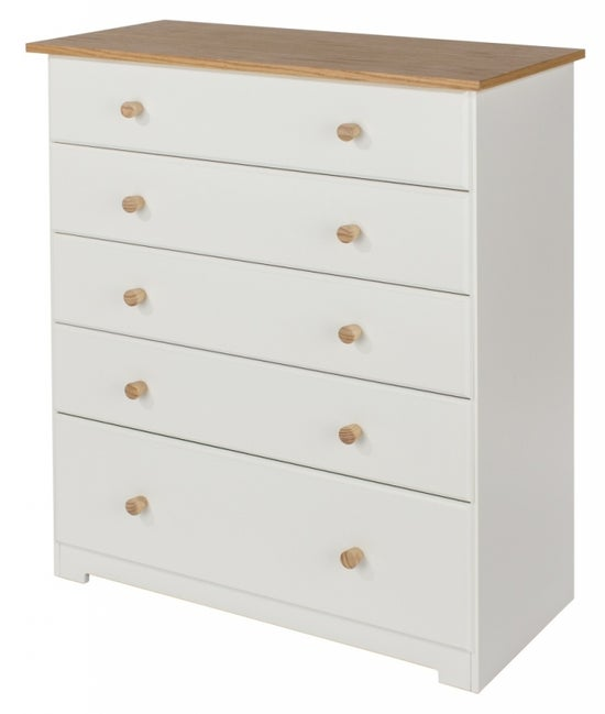 Colorado Oak and White Painted 5 Drawer Chest
