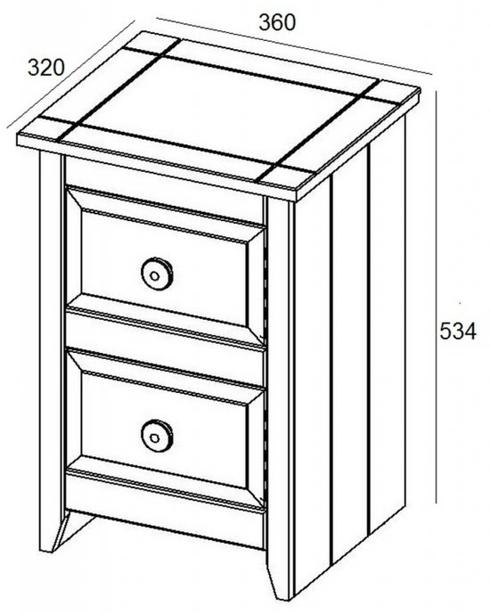 Capri Petite Bedside Cabinet - Pine and White Painted
