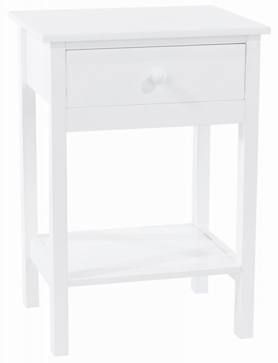 Shaker White Painted 1 Drawer Bedside Cabinet