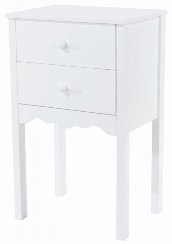 Imperial White Painted 2 Drawer Bedside Cabinet